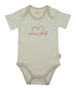 Eotton Certified Organic Cotton Toddler Bodysuit -Sweet Baby - Small (3-6 Months)