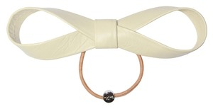 By Lilla By Lilla Large Leather Bow Elastic Hair Tie Bracelet - Beige