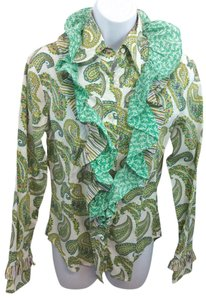 Etro Paisley Cotton Blouse 42 Button Down Shirt