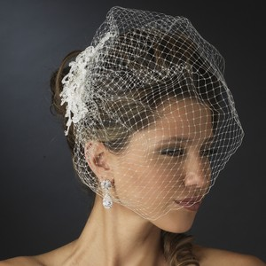 Elegance by Carbonneau Ivory Birdcage Vintage Feather Rhinestone Hair Comb & Russian Blusher Cage Bridal Veil