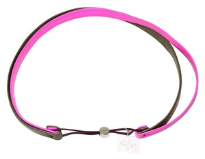 By Lilla By Lilla Double Leather Military Green/Neon Pink Headband