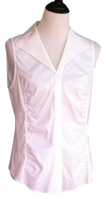 Preload https://item1.tradesy.com/images/lafayette-148-new-york-white-sleeveless-ruched-blouse-size-10-m-1213500-0-2.jpg?width=400&height=650