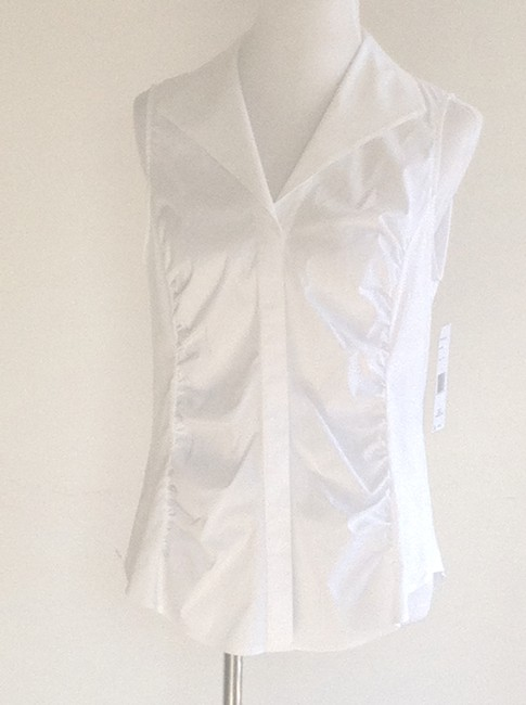 Lafayette 148 New York Sleeveless Ruched Top White