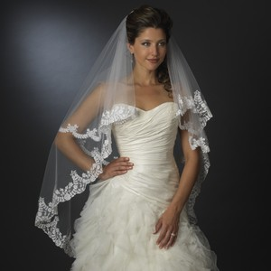 Elegance By Carbonneau Floral Embroidered Double Layer Edge Veil Fingertip Waltz Length Veil