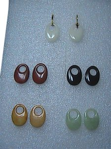 Unknown 14k Solid Yellow Gold Jade Interchangeable Earrings Set