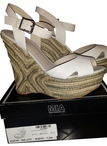 Mia Shoes Jute Wedge Sandal Leather White Wedges