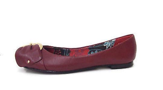 Mia Shoes Balle Ballerina Ballet Leather Gold Hardware Buckle Toe ruby red Flats