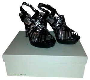 Lovely People Black & Silver Sandals