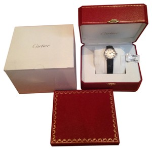 Cartier CARTIER Ronde Solo Steel Black Leather Ladies Watch