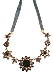 MONET 2 BNWT Monet Vintage Necklace Goldtone with blue velvet and stones