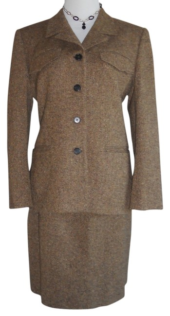 Item - Tan / Brown Tweed Excellent Cond.(Slightly Used)wool Blendrn#54050 Skirt Suit Size Petite 12 (L)