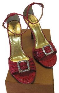 Michael Antonio Size 6.50 M Reptile Design Very Good Condition Red Sandals