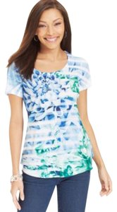 Style & Co Graphic Sublimation Blue Floral Studded T Shirt Blue Stripe