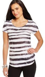 Style & Co Graphic Sublimation Studded T Shirt Black Stripe
