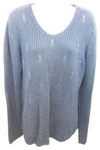 Salvatore Ferragamo Blue Silk Medium Thick Knit Xl Sweater