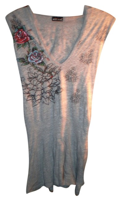 Wet Seal short dress Gray Fun Flirty Sexy Floral Swim Cover-up on Tradesy