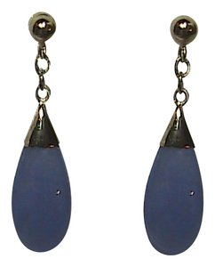 Unknown 14k Solid Yellow Gold Lavender Jade Dangling Earrings