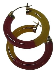 Other Huge 14k Solid Yellow Gold Hoop Jade Earrings