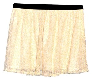 Forever 21 Lace Metallic Detail Mini Skirt Metallic/Cream
