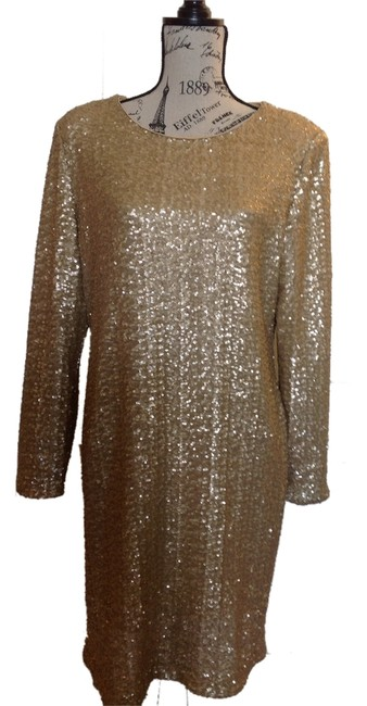 Item - Gold Knee Length Night Out Dress Size 14 (L)