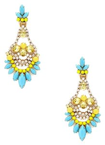 Elizabeth Cole Blue & Yellow Crystal Chandelier Earrings