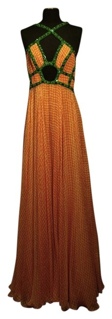 Preload https://img-static.tradesy.com/item/1214917/jenny-packham-peach-green-peachwhite-gingham-check-silk-and-sequined-gown-long-formal-dress-size-8-m-0-0-650-650.jpg