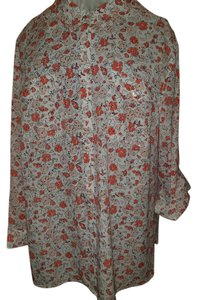 Jones New York Floral Flowy Boho Plus-size Top peach and white