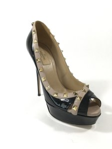 Valentino Rockstud Peep Toe Patent Leather Black and Nude Platforms