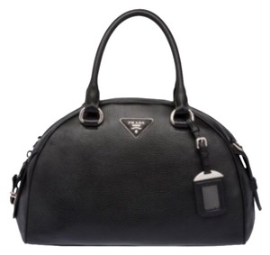 e000bc72cba403 Prada Italian Italy Bowler Dome Handbag Purse Soft Silver Hardware Leather  Pebbled Miu Miu Premiere Shoulder. Prada Bauletto Vitello Daino Black ...