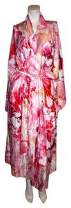 Pink Multi Maxi Dress by Natori Robe Pink Floral Belted