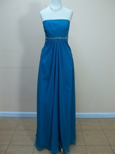 Impression Bridal Teal Chiffon 1676 Formal Bridesmaid/Mob Dress Size 12 (L)
