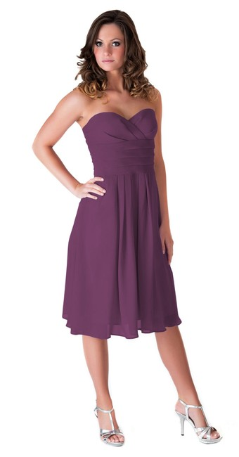 Purple Strapless Pleated Waist Slimming Chiffon Mid-length Cocktail Dress Size 22 (Plus 2x) Purple Strapless Pleated Waist Slimming Chiffon Mid-length Cocktail Dress Size 22 (Plus 2x) Image 1
