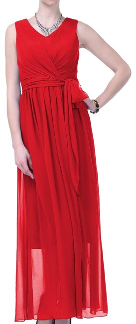 Preload https://item5.tradesy.com/images/red-graceful-sleeveless-waist-tie-long-formal-dress-size-2-xs-121579-0-2.jpg?width=400&height=650