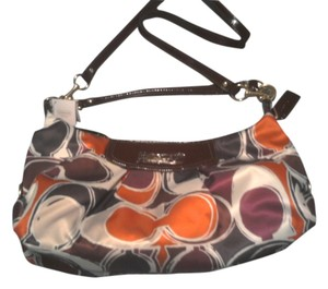 Coach New Convertible Patent Leather Trim Scarf Print Hobo Bag