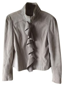 White House | Black Market Suede Ruffle Grey Leather Jacket