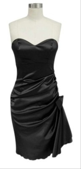 Black Strapless Bunched Bow Satin Short Cocktail Dress Size 12 (L) Black Strapless Bunched Bow Satin Short Cocktail Dress Size 12 (L) Image 1