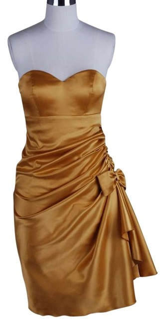 Preload https://item1.tradesy.com/images/gold-golden-strapless-bunched-bow-satin-above-knee-formal-dress-size-12-l-121605-0-0.jpg?width=400&height=650