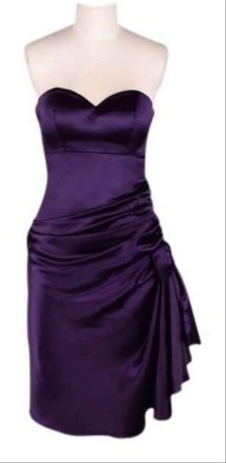 Preload https://item1.tradesy.com/images/purple-dark-royal-strapless-bunched-bow-satin-knee-length-cocktail-dress-size-26-plus-3x-121610-0-0.jpg?width=400&height=650
