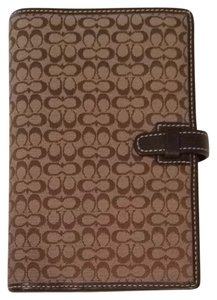 Coach Coach Address Book And Planner In Dark Brown And White
