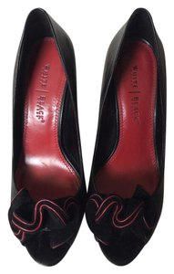 White House | Black Market Peep Toe Leather Black, Red Pumps