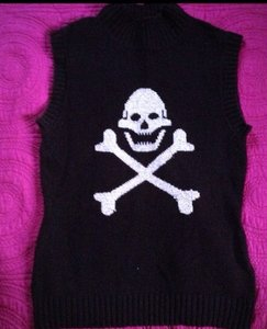 Betsey Johnson Skulls Rock Rocker Gothic Sweater