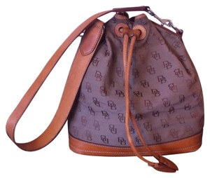 Dooney & Bourke & Sack Canvas Leather Vacchetta Drawstring Shoulder Bag