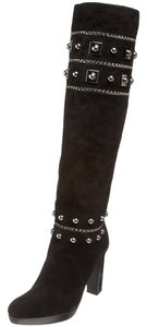 Stuart Weitzman Leather Suede Studded Black Black/Silver Boots