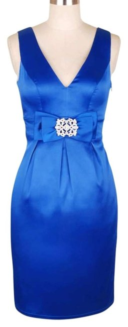Preload https://item4.tradesy.com/images/blue-v-neck-w-rhinestone-brooch-knee-length-cocktail-dress-size-26-plus-3x-121623-0-0.jpg?width=400&height=650