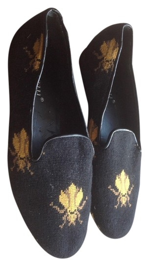 A martinelli Woven Bee Design Black Flats
