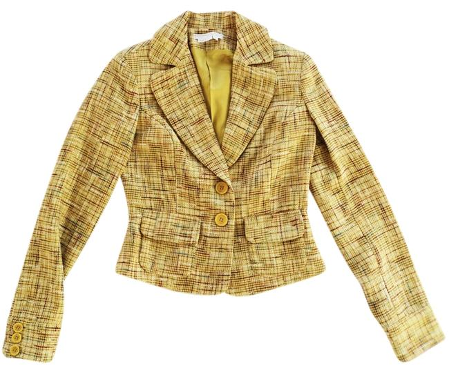 To the Max Polyester Dry Clean Yellow Blazer