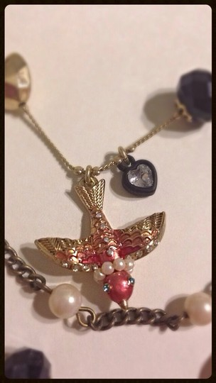 Betsey Johnson Betsey Johnson Rose Layer Bird Sparrow Pinup Necklace Image 1