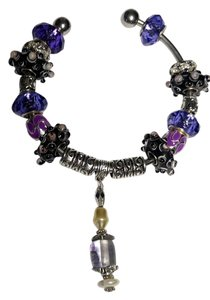 Murano Glass European charm bracelet purple silver B167