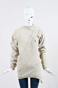 Victoria Beckham Cream Melange Wool Drape Panel 1 Sweater