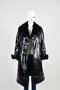 Alexander McQueen Cracked Patent Shearling Lined Coat